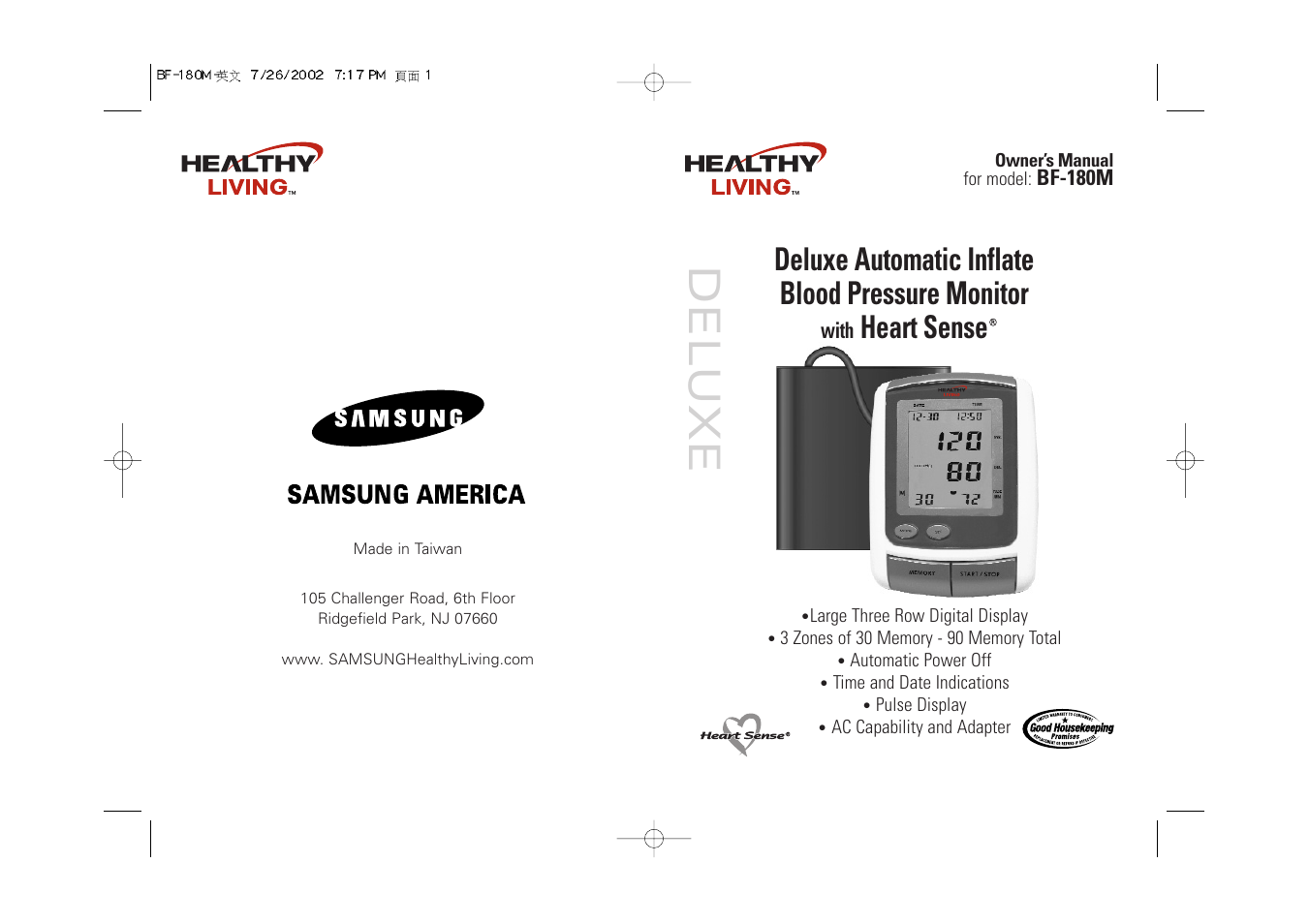 samsung bf 180m user manual 32 pages rh manualsdir com Blood Pressure Wrist Monitor ReliOn Blood Pressure Monitor Accuracy