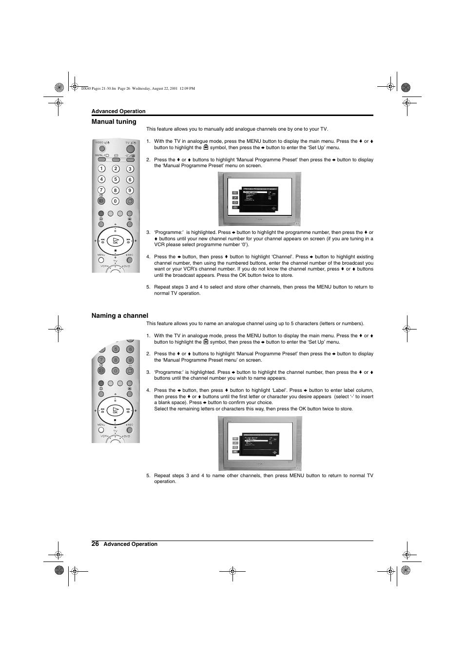 Manual tuning, Naming a channel | Sony Trinitron KD-32DX40U