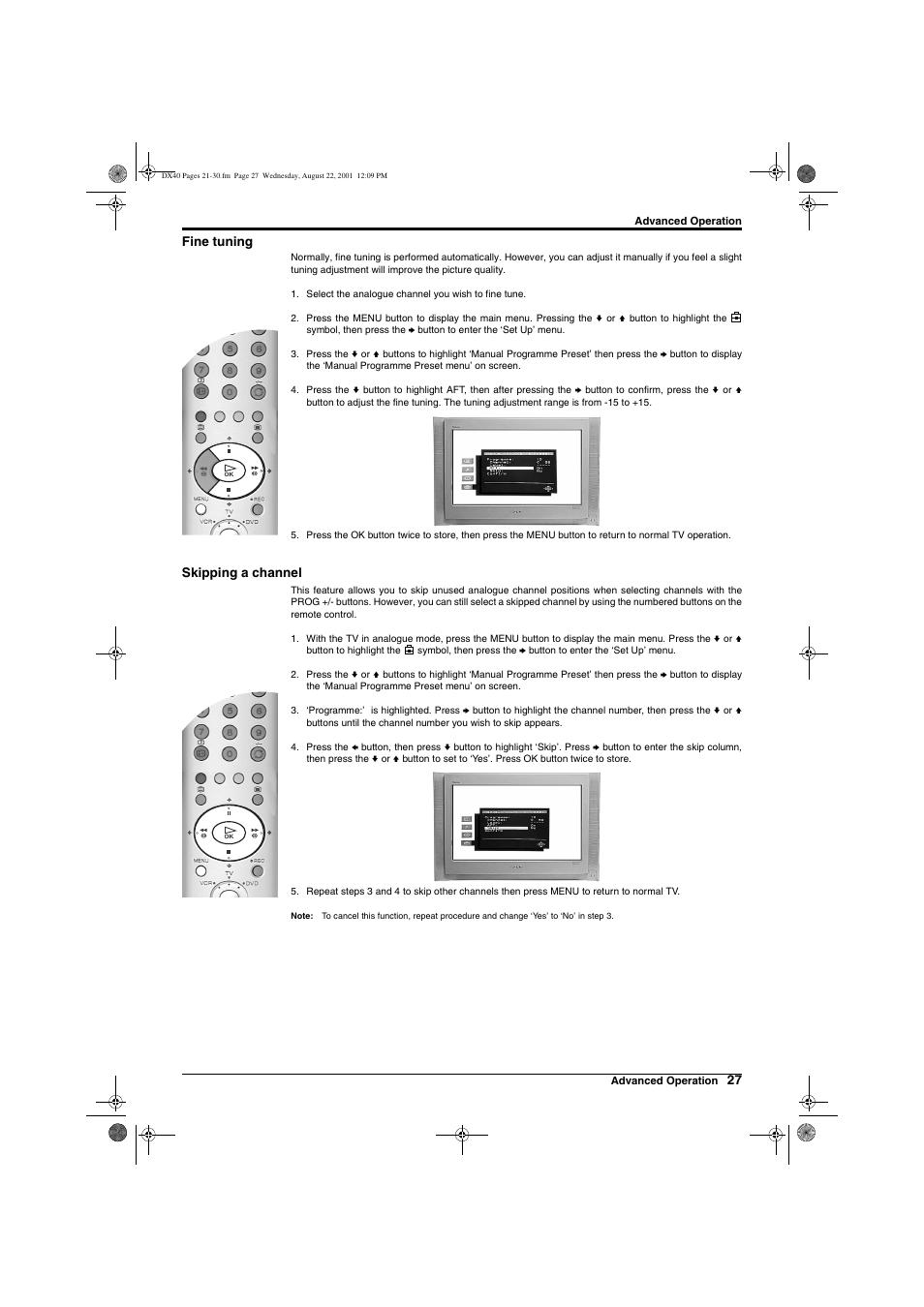 27 fine tuning, Skipping a channel | Sony Trinitron KD