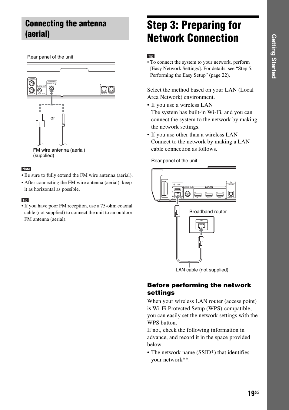 Connecting The Antenna Aerial Step 3 Preparing For Network Wireless Diagram Home Entertainment Connection Sony Blu Ray Disc Dvd Theater System Bdv N790w