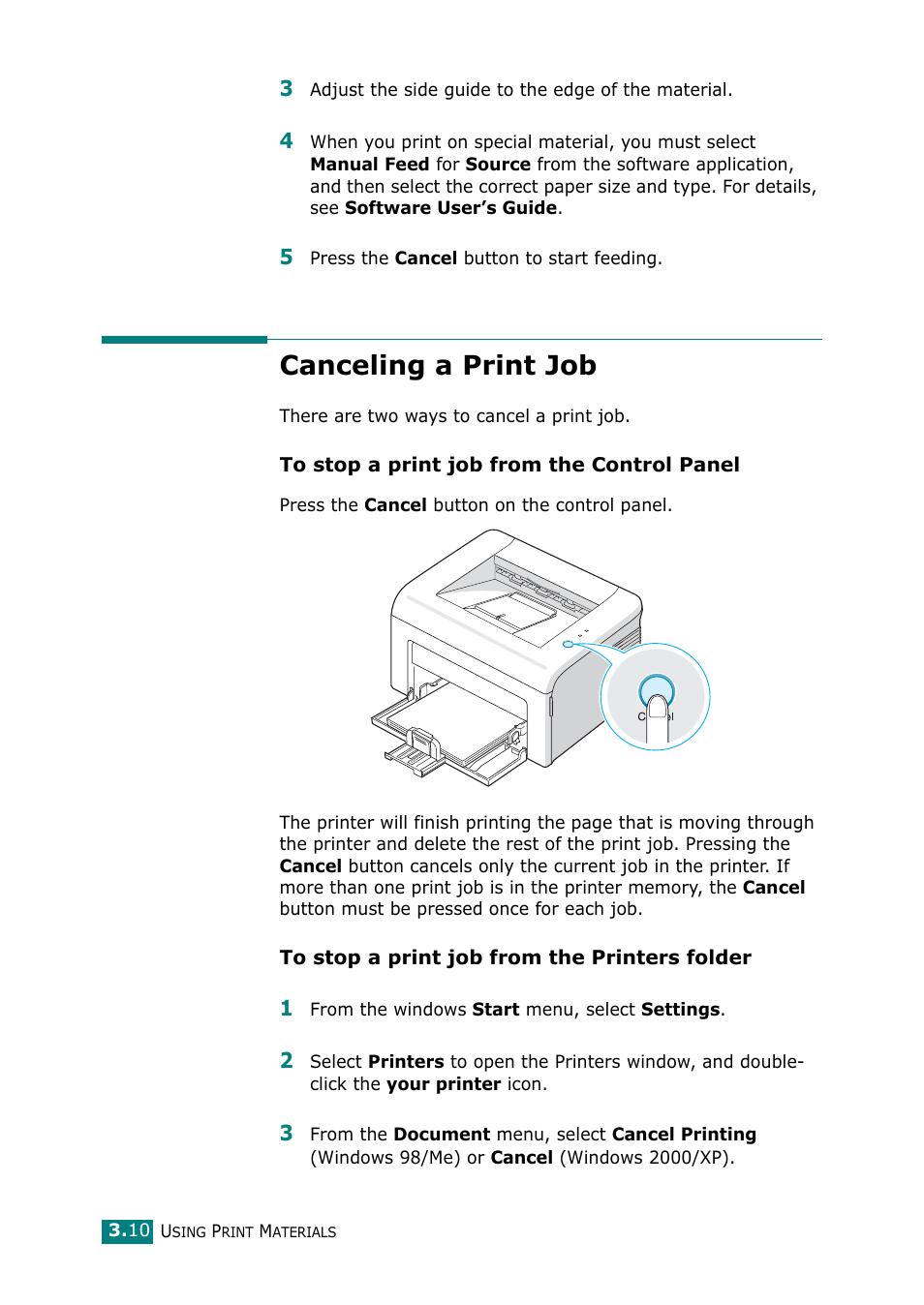 canceling a print job samsung ml 1610 user manual page 41 108 rh manualsdir com Printer User Manual Epson Printer User's Guide