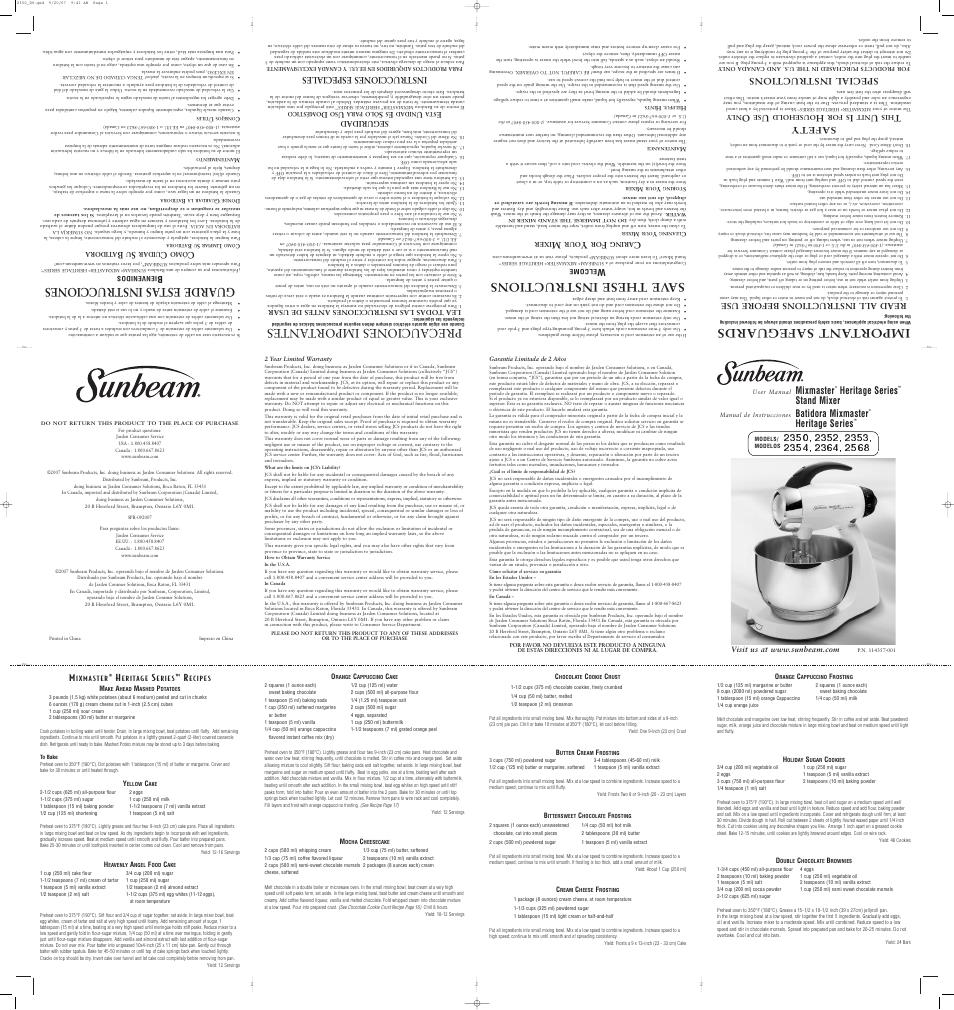 Sunbeam Mixmaster 2352 User Manual