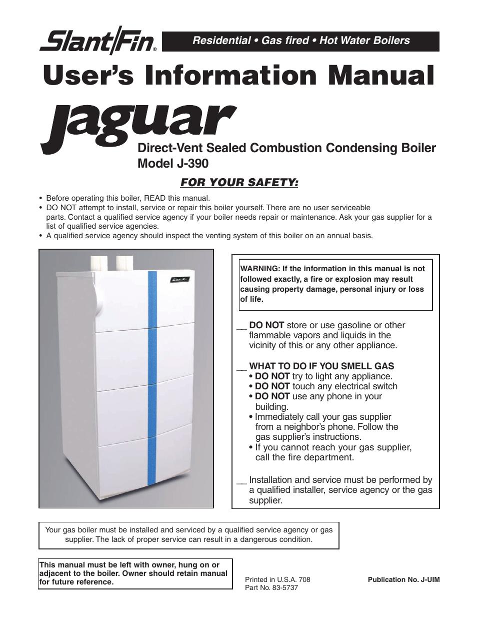 Slant Fin Jaguar J 390 User Manual 12 Pages Boiler Wiring Diagram