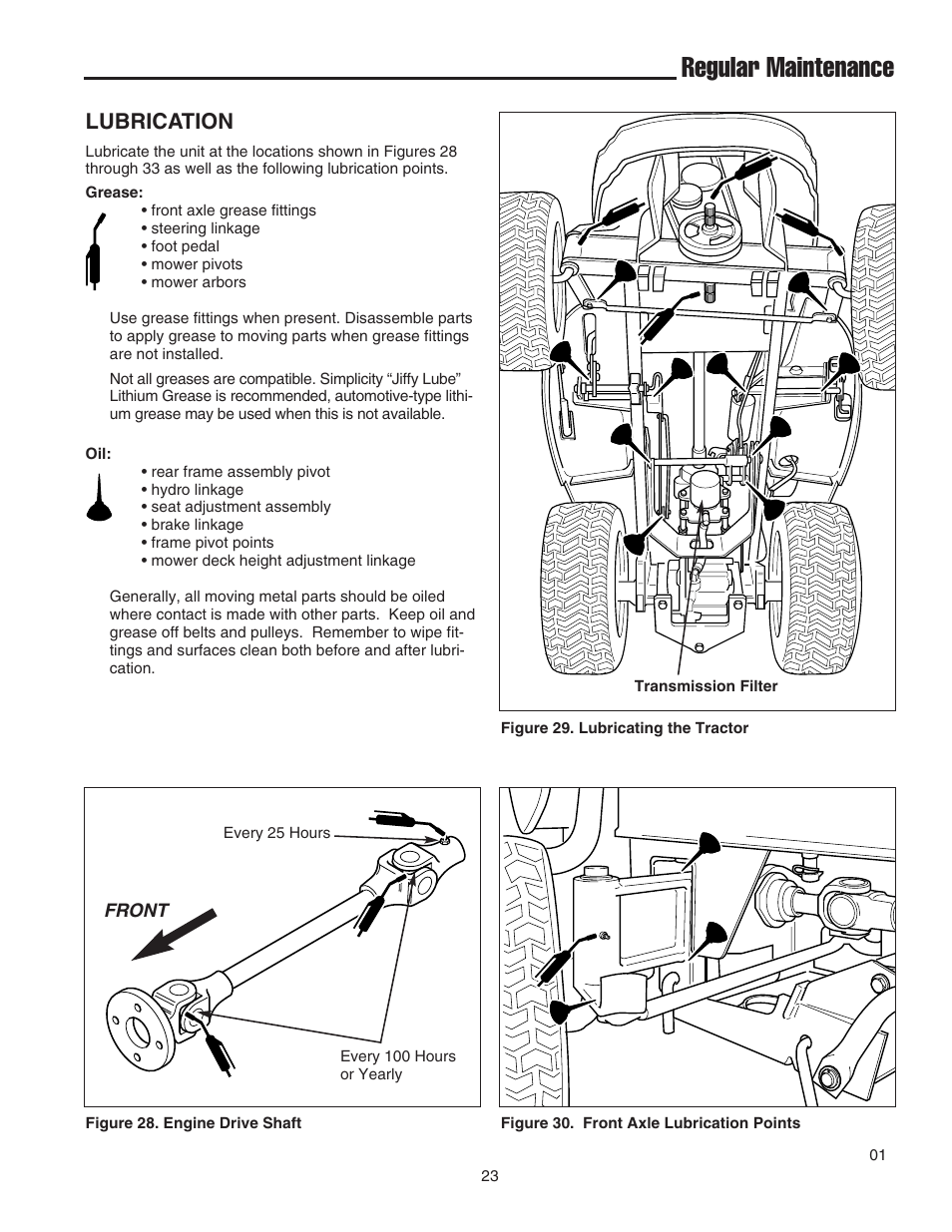 Regular maintenance, Lubrication | Simplicity 1693130 User Manual