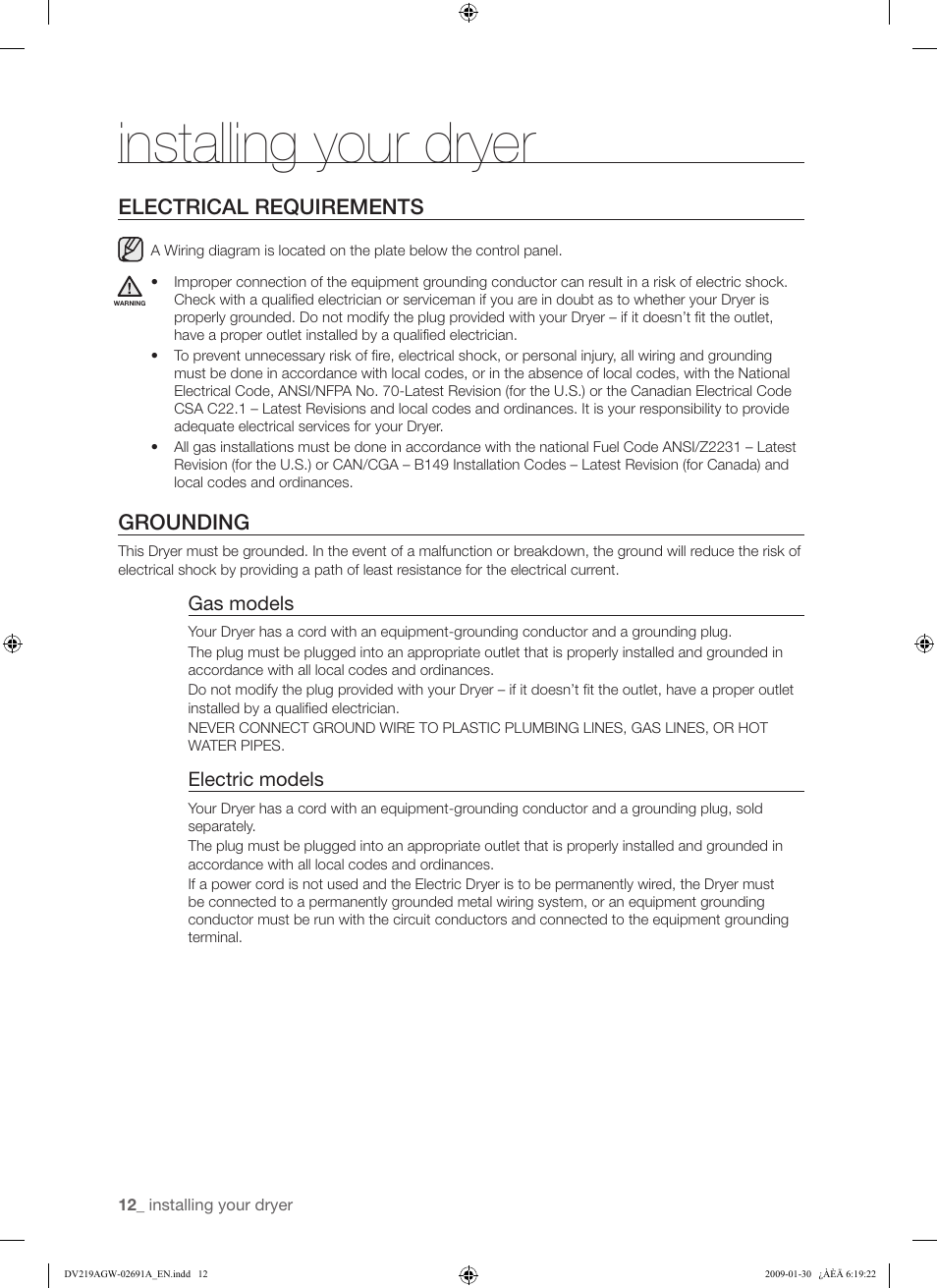 Installing your dryer, Electrical requirements, Grounding | Samsung  DV219AGW User Manual | Page 12 / 68