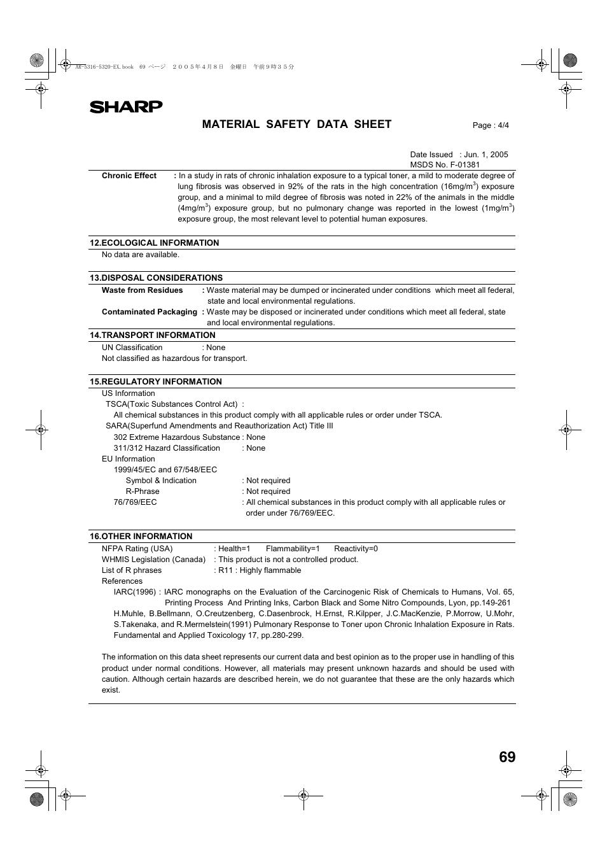 material safety data sheet sharp ar 5316 user manual page 71 rh manualsdir com sharp photocopieur ar 5316 service manual sharp ar 5316 service manual pdf