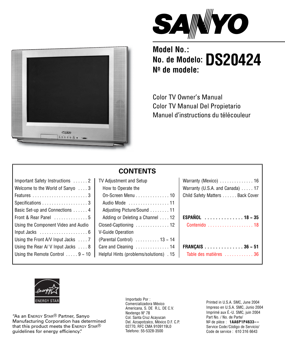 "Sanyo dp19648 19"" lcd tv manual."