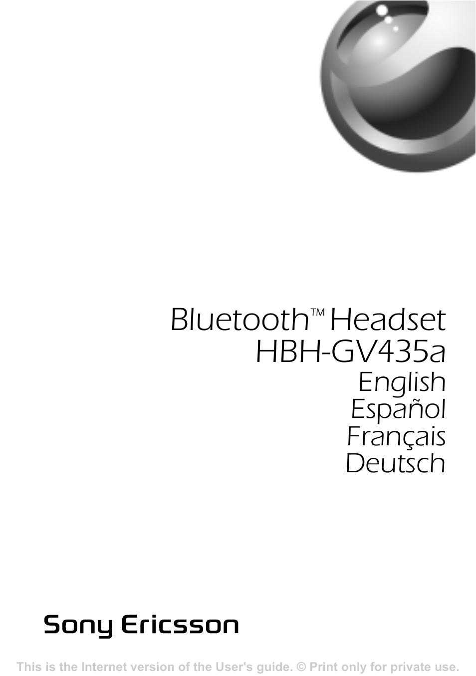 Sony ericsson hbh gv435a инструкция