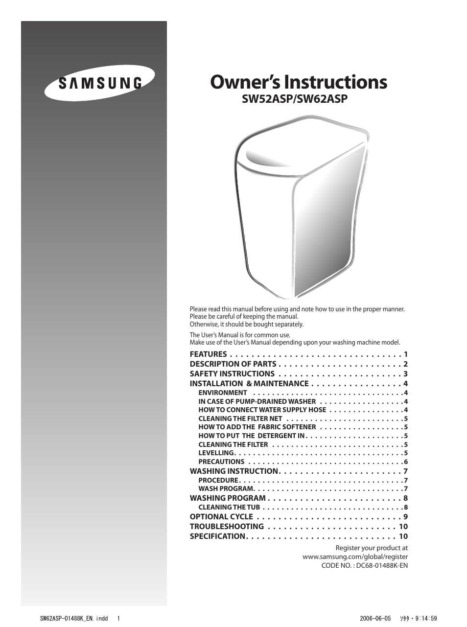 Samsung Sw52asp User Manual 12 Pages Also For Sw62asp