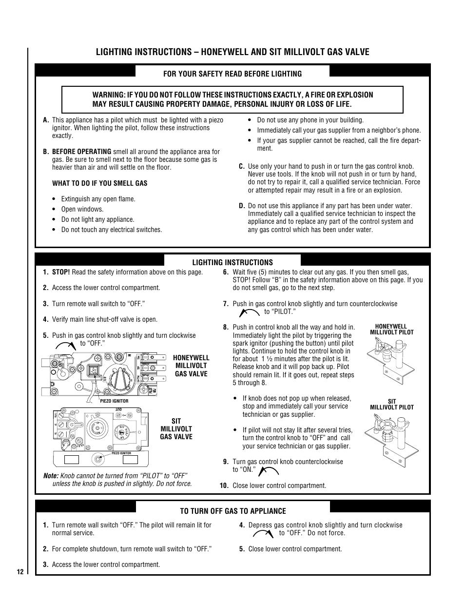 Lighting instructions | Superior NMC004-TD User Manual