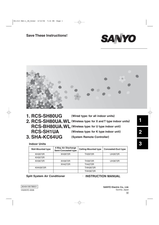 sanyo kh2672r user manual 48 pages Sanyo Split Unit Condenser Sanyo HVAC Service Manuals