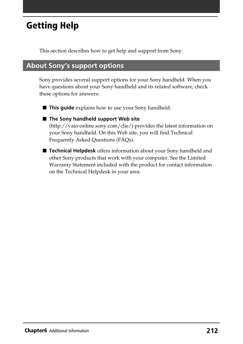 Getting help, About sony's support options, About sony's support options | Sony PEG-T415G User Manual | Page 212 / 220