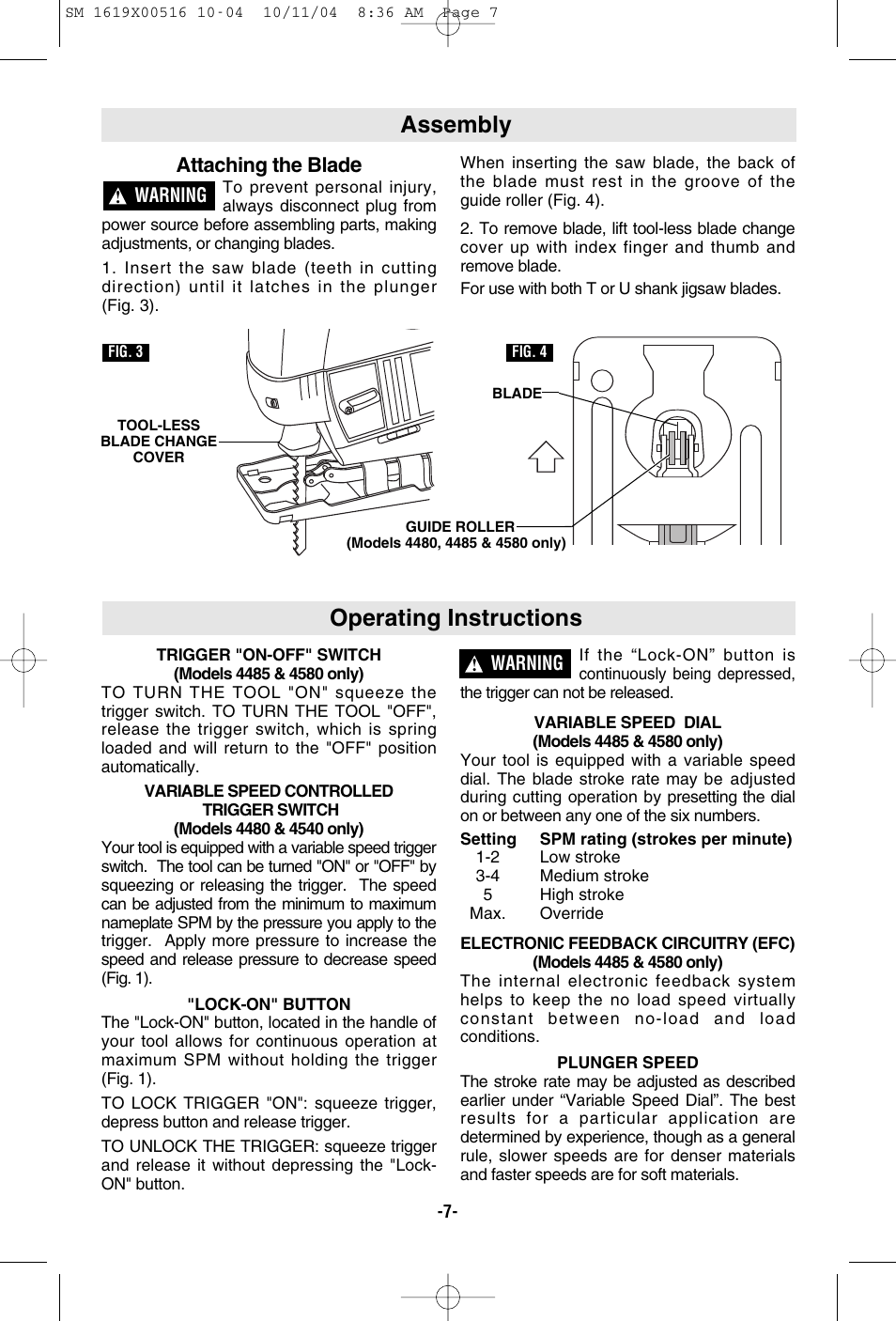 Assembly Operating Instructions Attaching The Blad Skil 4485