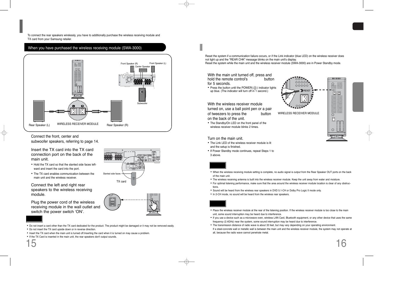 Resetting wireless communication | Samsung HT-Q70 User Manual | Page