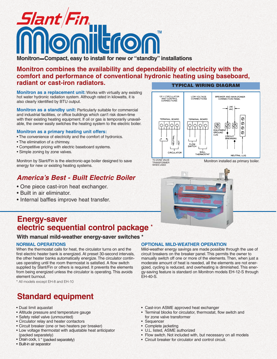 energy-saver electric sequential control package, standard equipment,  america's best - built electric boiler   slant/fin monitron eh boilers user  manual