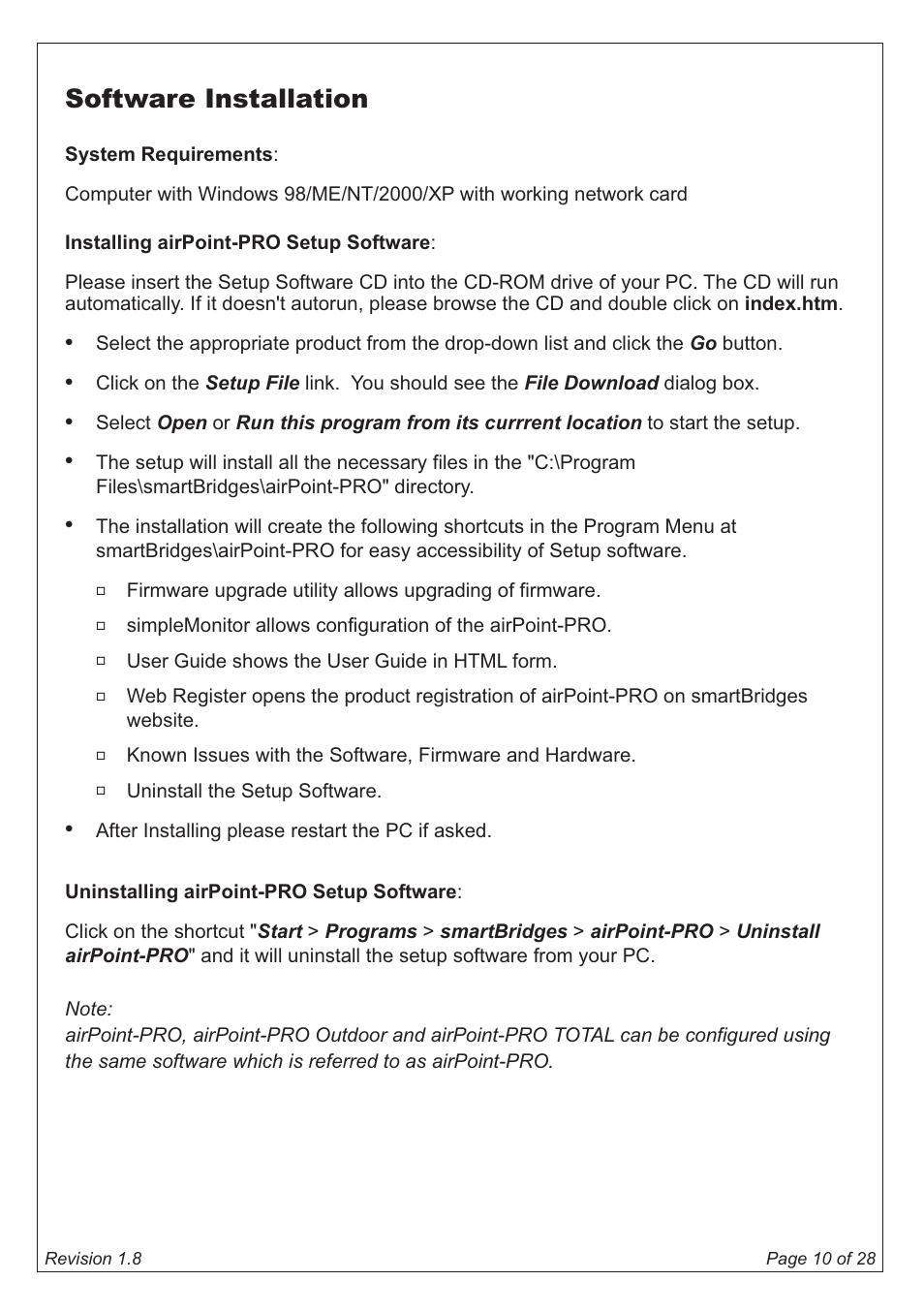 Software installation   SmartBridges airPoint Pro Series