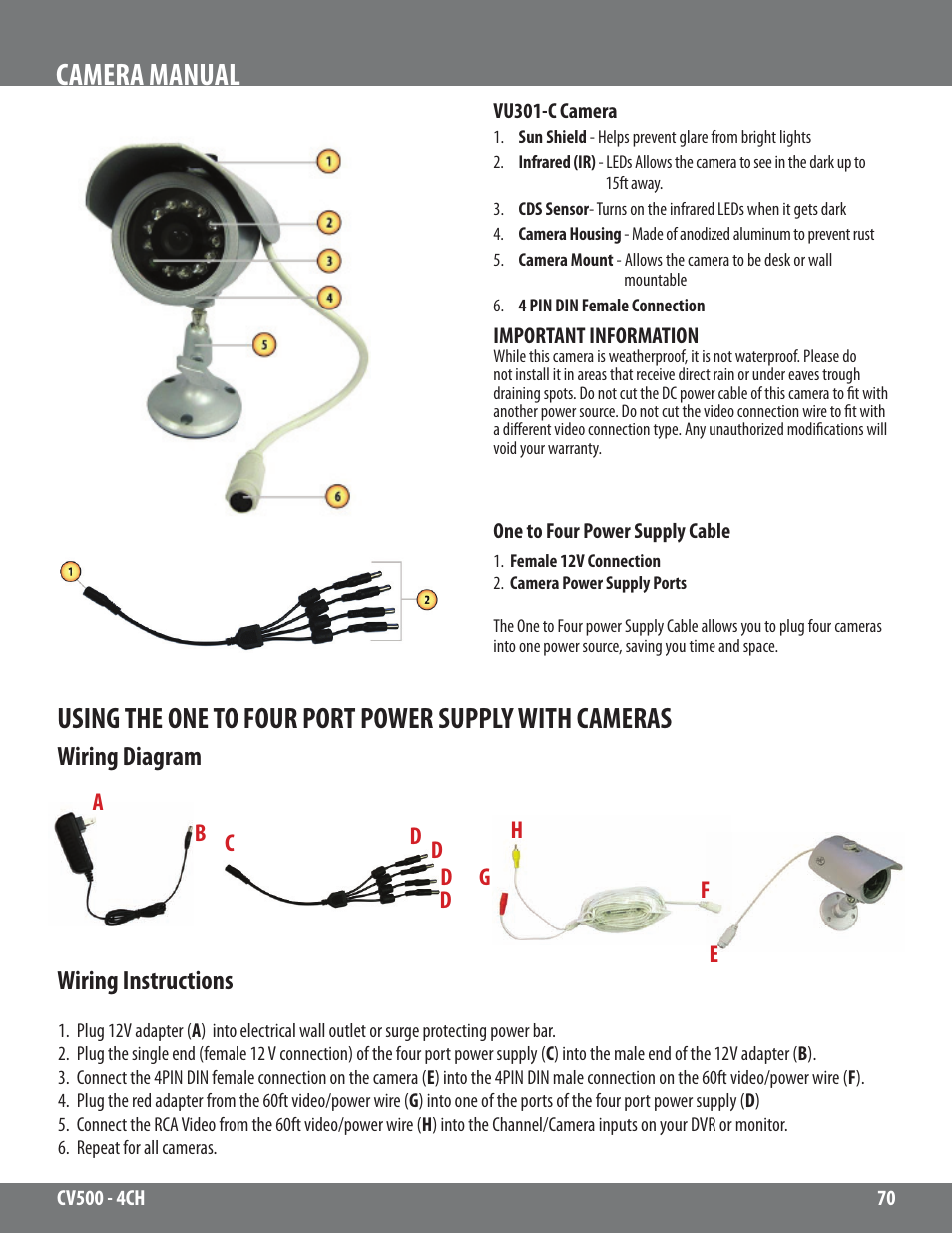 Camera manual, Wiring diagram wiring instructions | SVAT Electronics 2CV500  - 4CH User Manual | Page 70 / 74