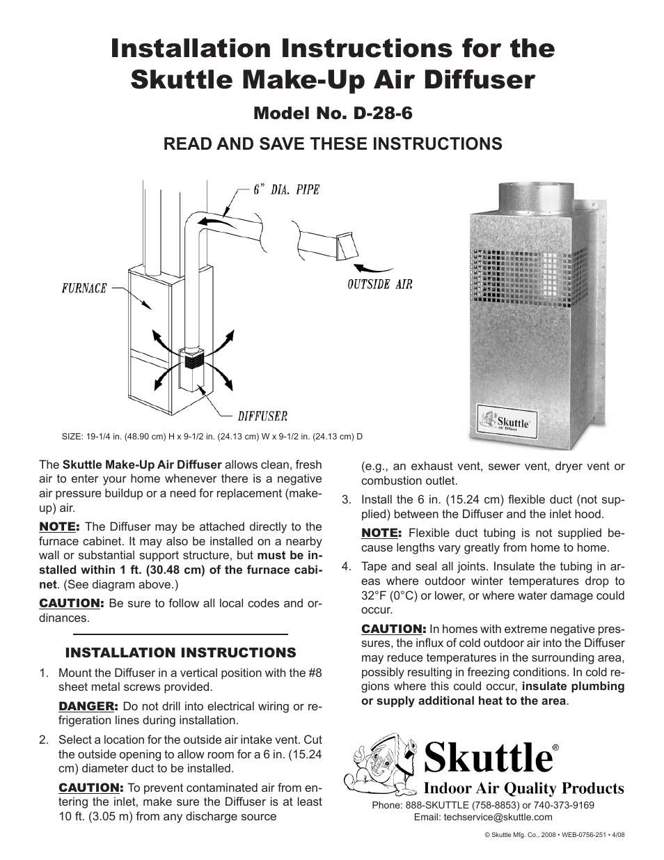 Skuttle Indoor Air Quality Products Skuttle Make-Up Air Diffuser D ...