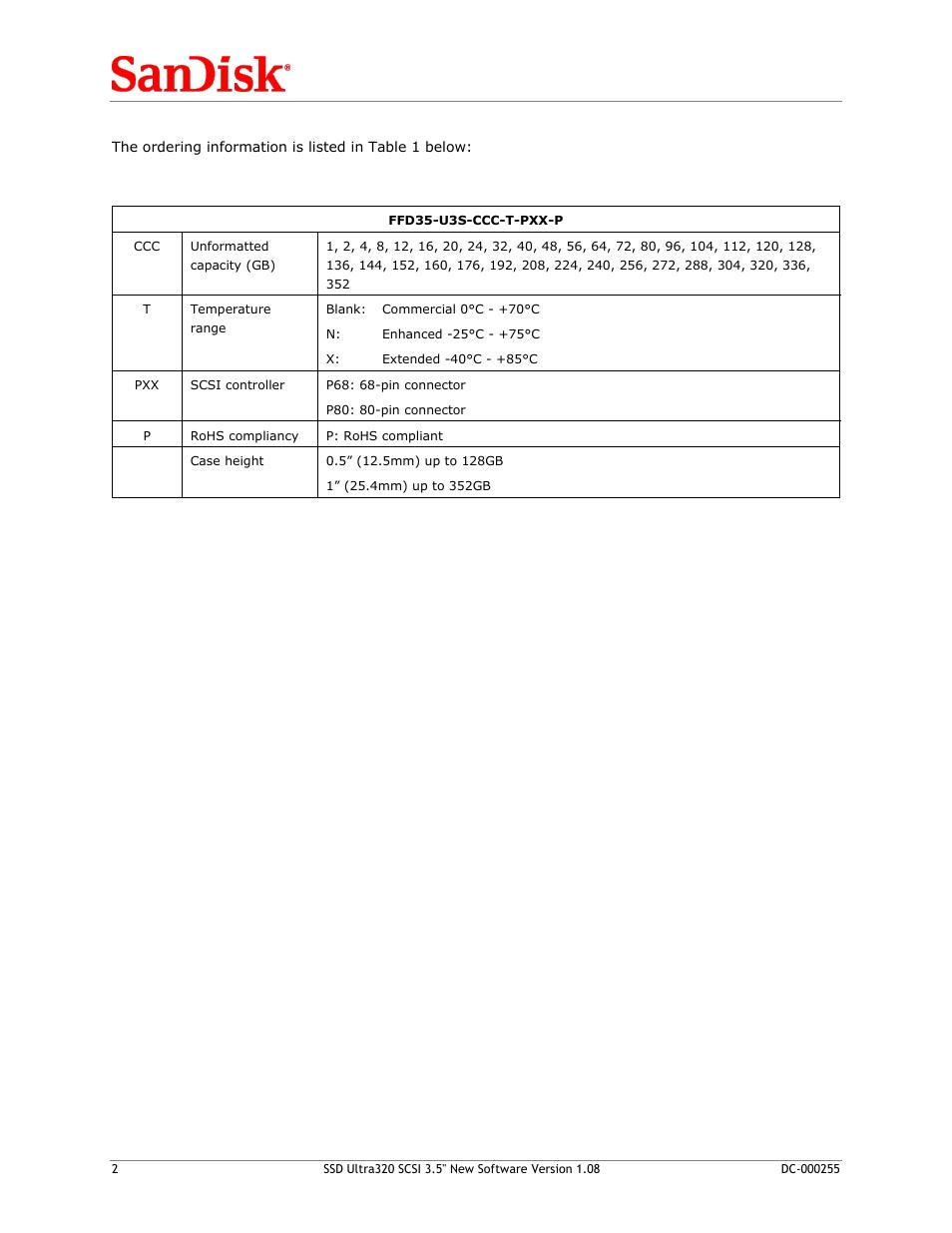 SanDisk SSD ULTRA320 SCSI 3 5