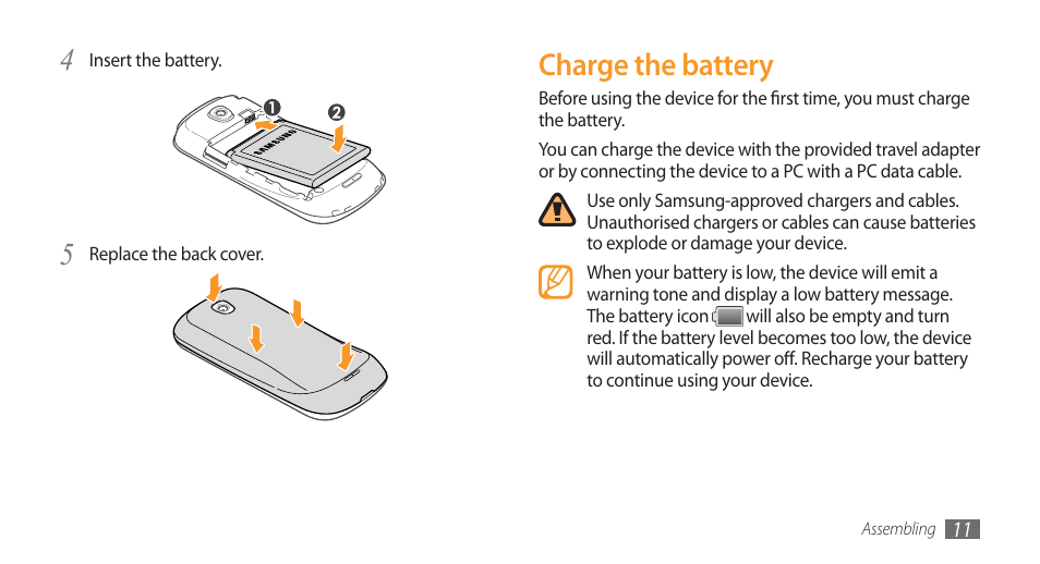 charge the battery samsung galaxy 3 user manual page 11 128 rh manualsdir com Samsung Refrigerator Manual Samsung Refrigerator Manual