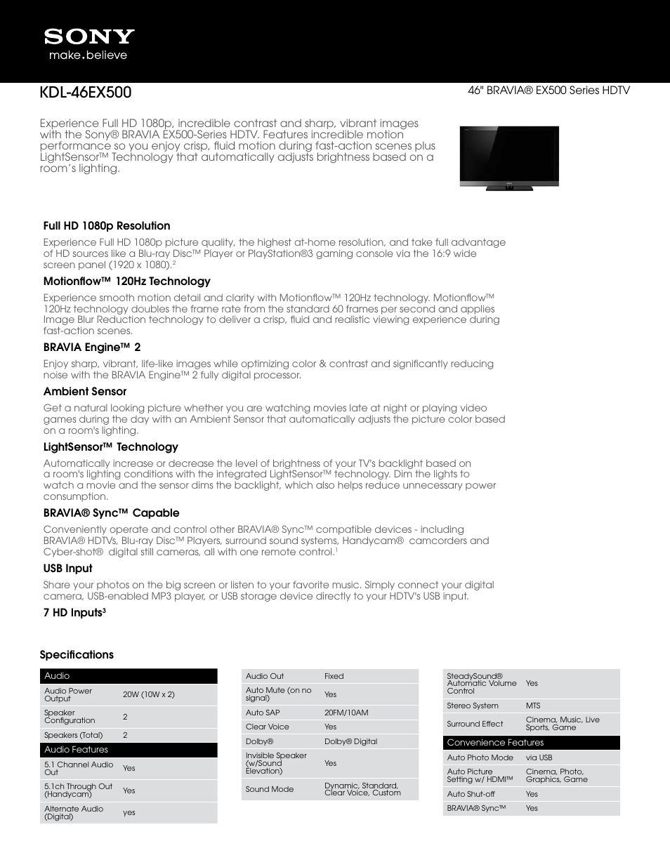 sony bravia kdl 46ex500 user manual 3 pages rh manualsdir com