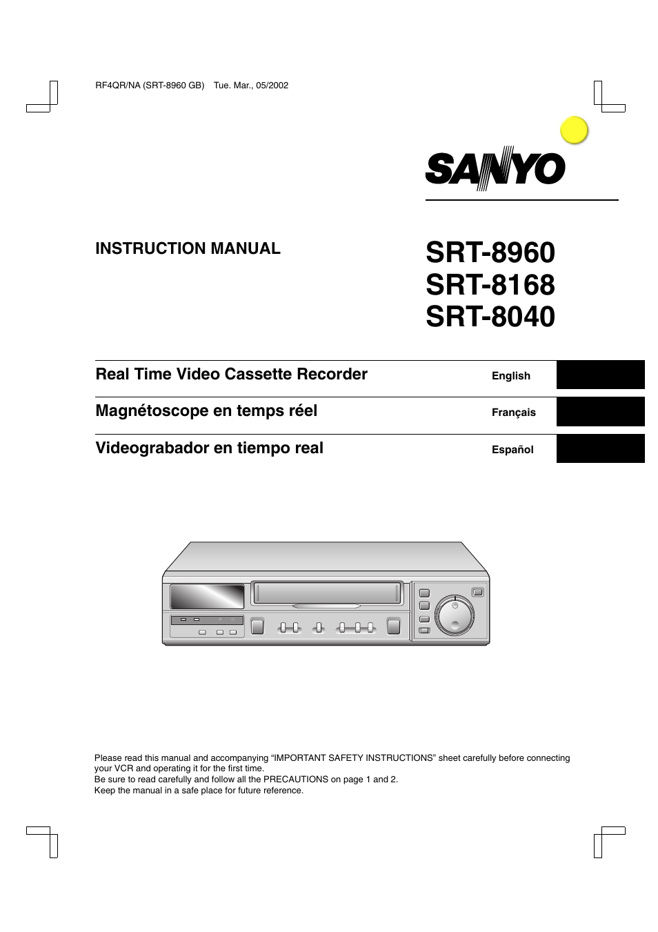 owners manual sanyo srt 8040 user manual 56 pages also for srt 8960 srt  8168 sanyo