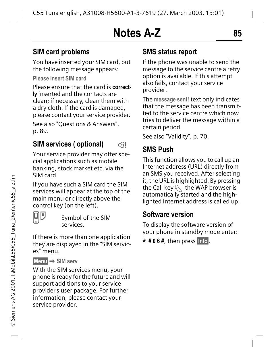 Sim services, Optional), P  85 | Siemens C55 User Manual