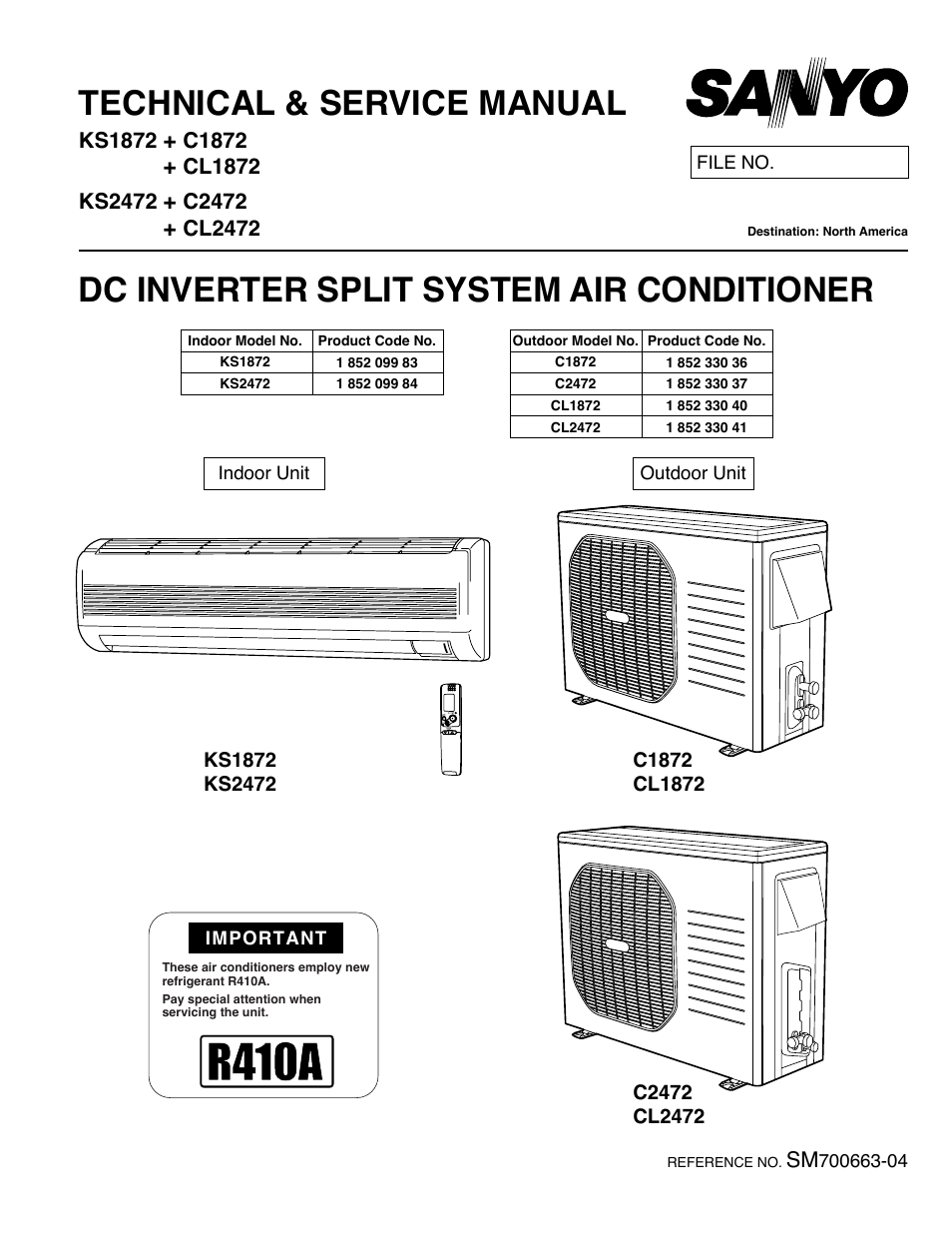 sanyo cl2472 user manual 117 pages also for c1872 Sanyo HVAC Service Manuals Split Air Conditioner