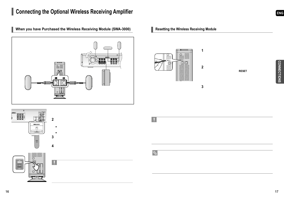 Resetting the wireless receiving module | Samsung HT-TX55 User