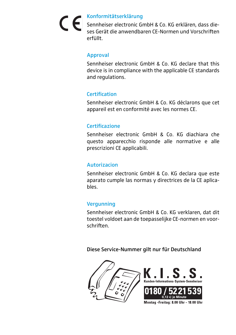 Certification Sennheiser Antenna Splitter Asp 2 User Manual Page