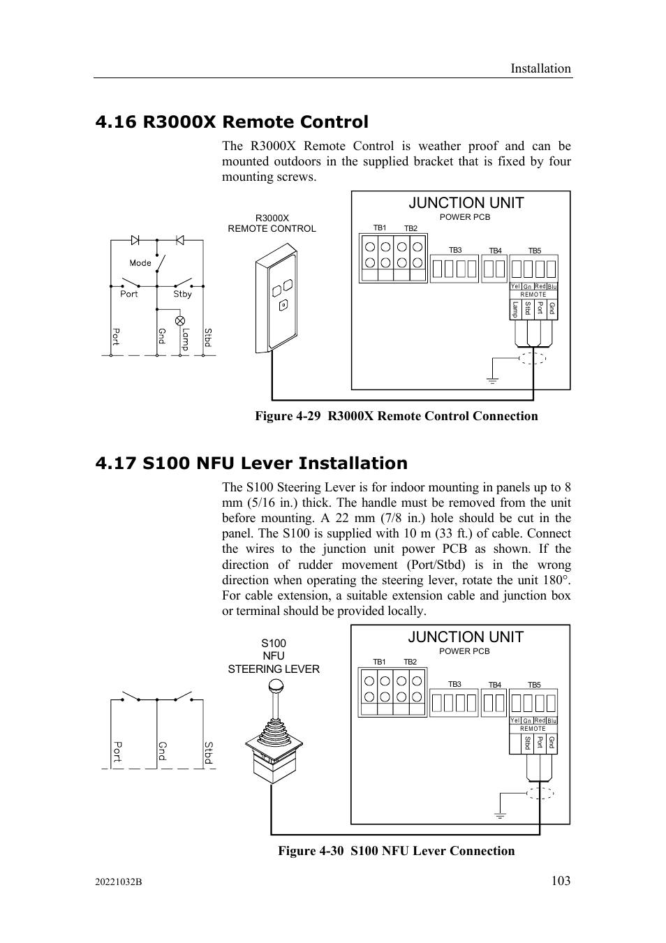 R3000x Remote Control S100 Nfu Lever Installation Junction Unit Wiring Diagram Simrad Autopilot System Ap50 User Manual Page 105 188