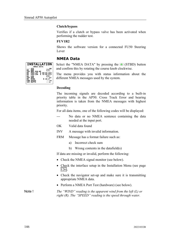 Nmea data | Simrad AUTOPILOT SYSTEM AP50 User Manual | Page 148 / 188