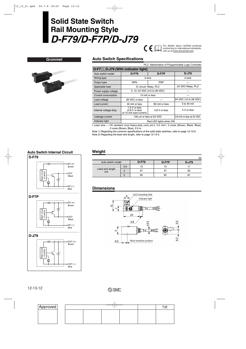 Solid state switch, General purpose type, D-f79/d-f7p/d-j79 rail mounting  style | SMC Networks Reed Switch Solid State Switches User Manual | Page 12  / 27
