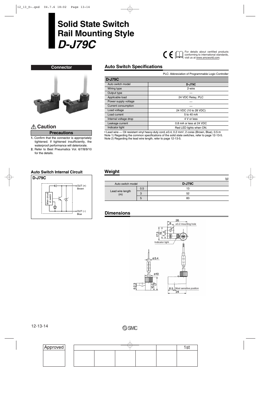 D-j79c rail mounting style, D-j79c, Solid state switch rail mounting style  | SMC Networks Reed Switch Solid State Switches User Manual | Page 14 / 27