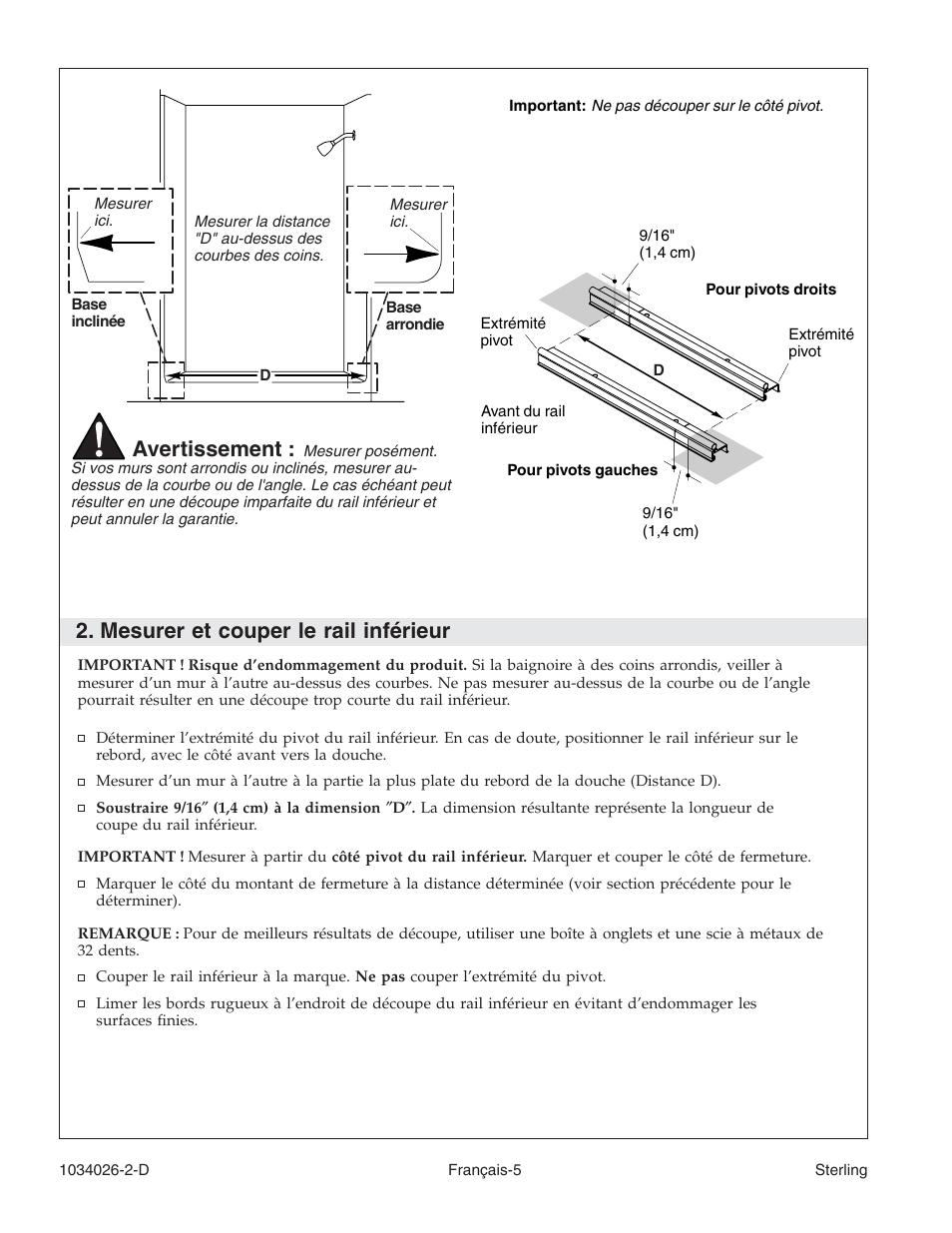 mesurer et couper le rail inf rieur avertissement sterling rh manualsdir com Gerber Plumbing Delta Plumbing