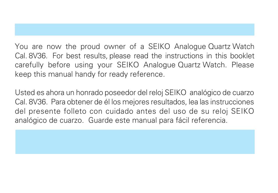 Seiko 8v36 User Manual 9 Pages Original Mode