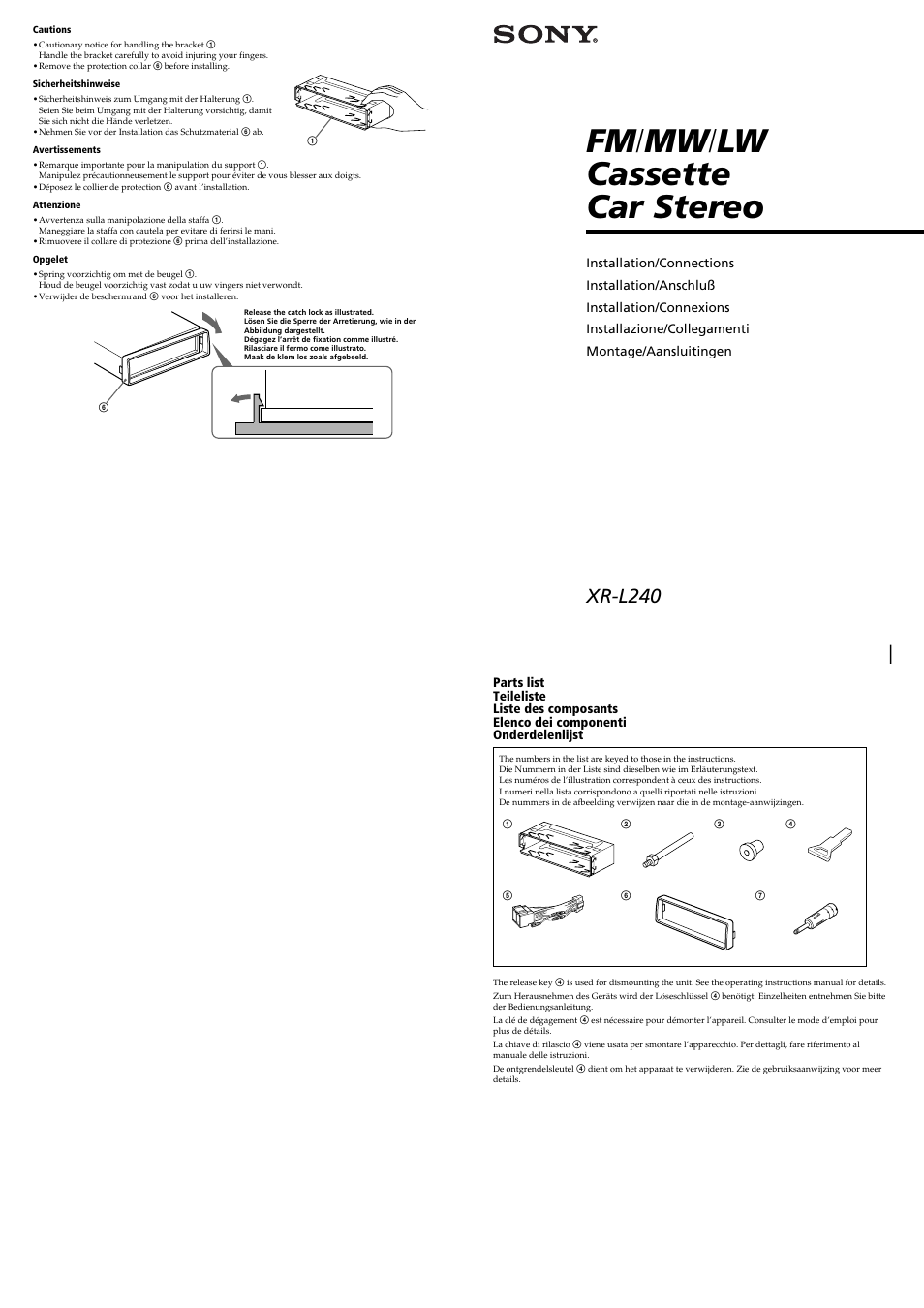 Sony XR-L240 User Manual | 4 pages