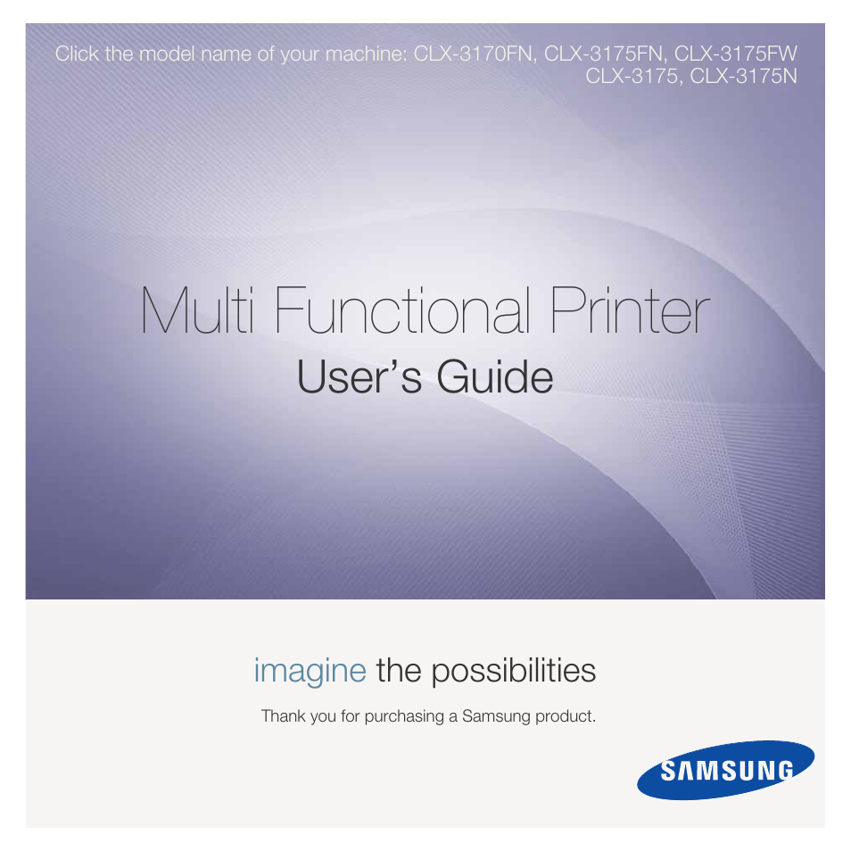 Samsung CLX-3175FN User Manual   218 pages   Also for: CLX-3175, CLX-3175N,  CLX-3170FN, CLX-3175FW