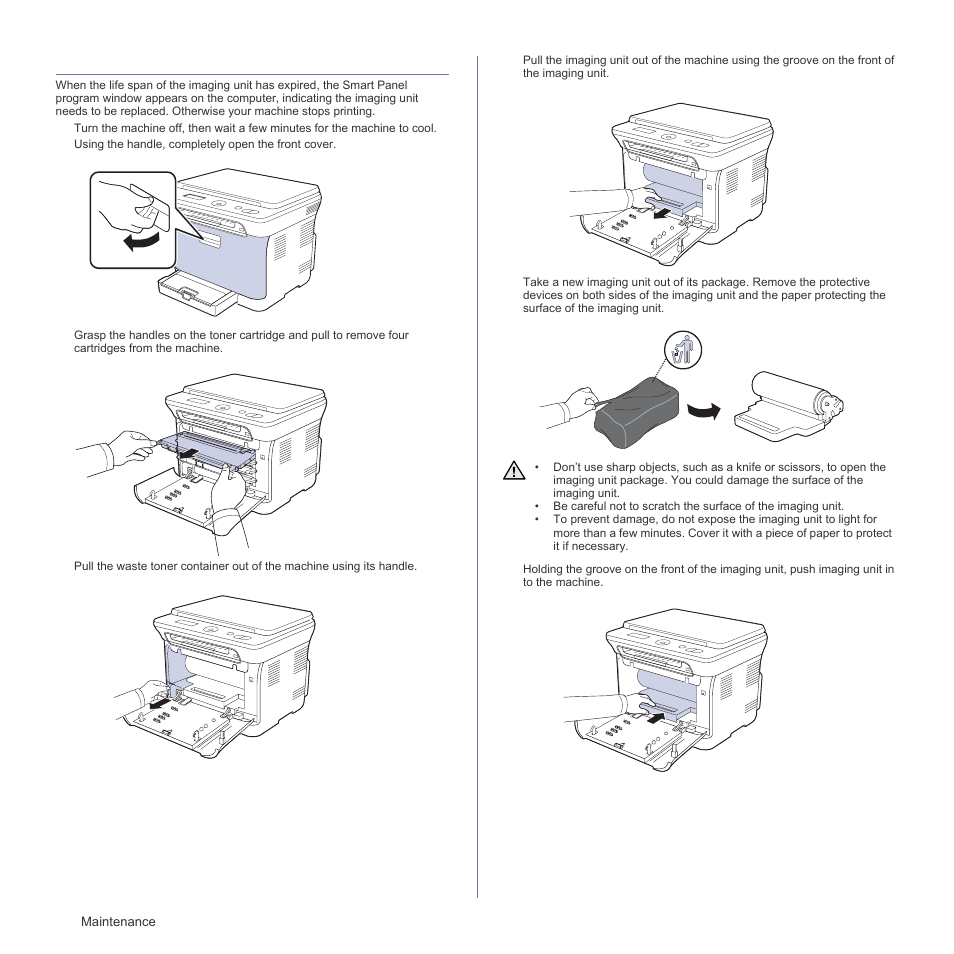 Replacing the imaging unit | Samsung CLX-3175FN User Manual | Page 146 / 218