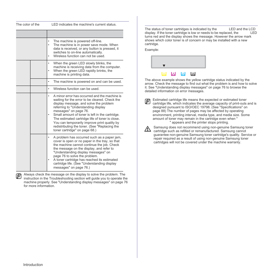 Understanding the status led, Acknowledging the status of the toner cartridge, Understanding the statu | Acknowledging the status of the toner | Samsung CLX-3175FN User Manual | Page 20 / 218