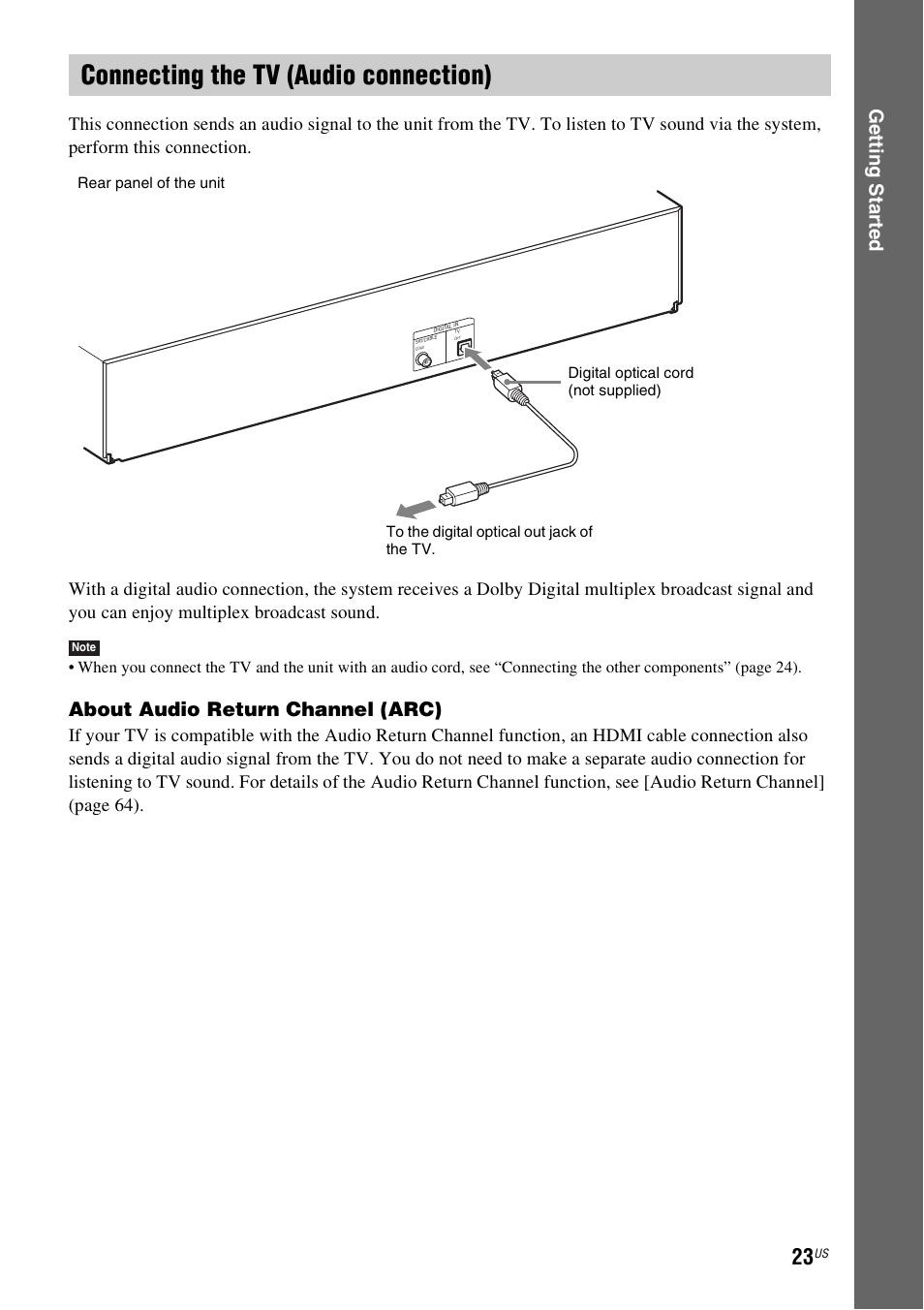 connecting the tv audio connection e 23 ge tting star te d rh manualsdir com Samsung Plasma TV Manual Samsung Smart TV Owners Manual