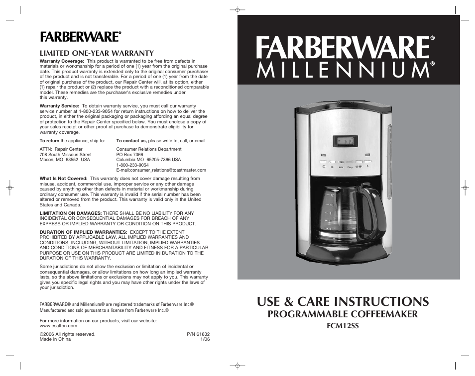 Farberware Programmable Coffeemaker Fcm12ss User Manual 12 Pages