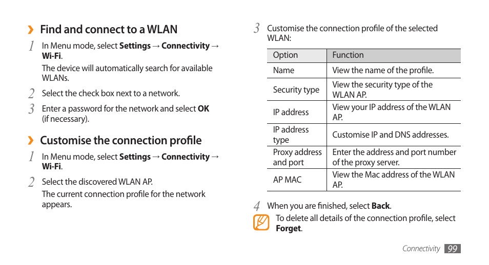 Find and connect to a wlan, Customise the connection profile