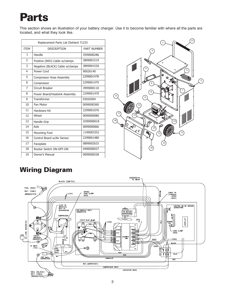 Parts, Wiring diagram | Sears 200.71233 User Manual | Page 4 / 15Manuals Directory
