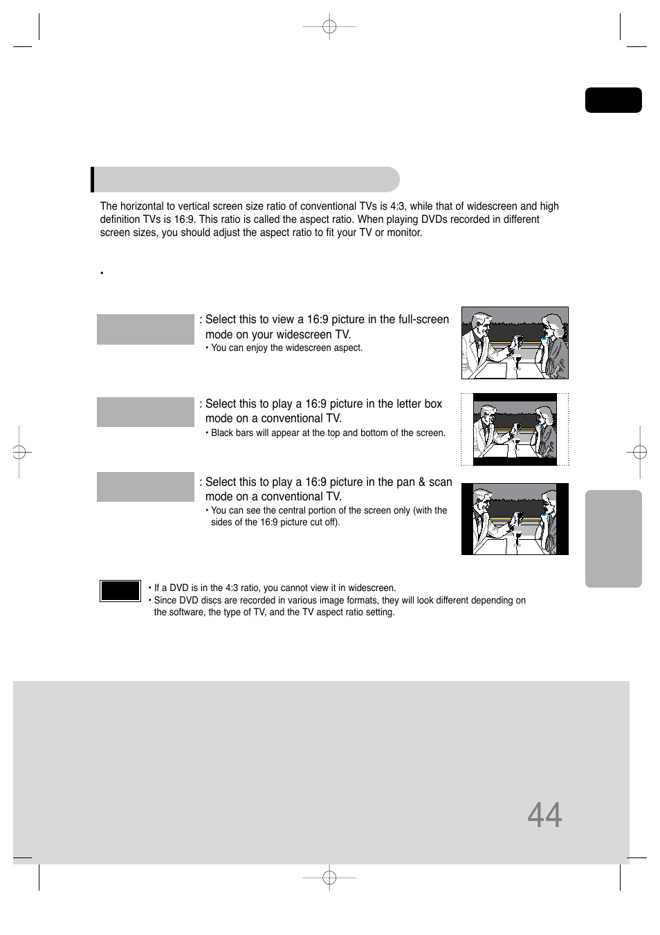 Adjusting the tv aspect ratio (screen size) | Samsung HT
