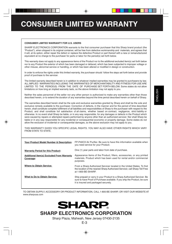 consumer limited warranty sharp electronics corporation sharp fp rh manualsdir com Sharp View Cam Cameras Sharp TV Owners Manual