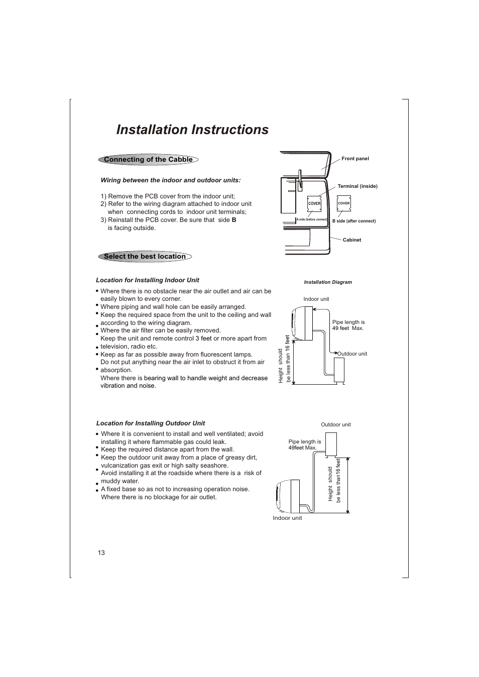 15 Installation Instructions Soleus Air Kfthp 12 Id User B Cabinet Wiring Diagrams Manual Page 26
