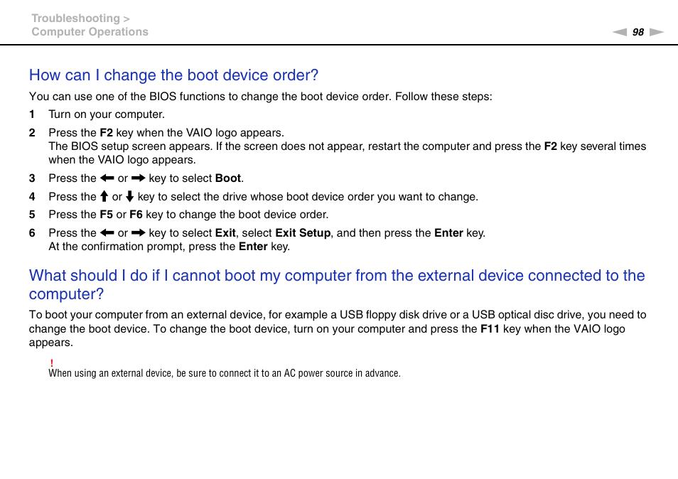 how can i change the boot device order sony vaio vpcm1 user manual rh manualsdir com Operators Manual Operators Manual