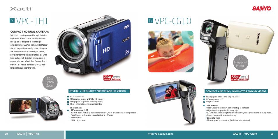 vpc th1 vpc cg10 10 megapixel photos 30 x optical zoom sanyo rh manualsdir com Sanyo TV Sanyo Waterproof Camcorder