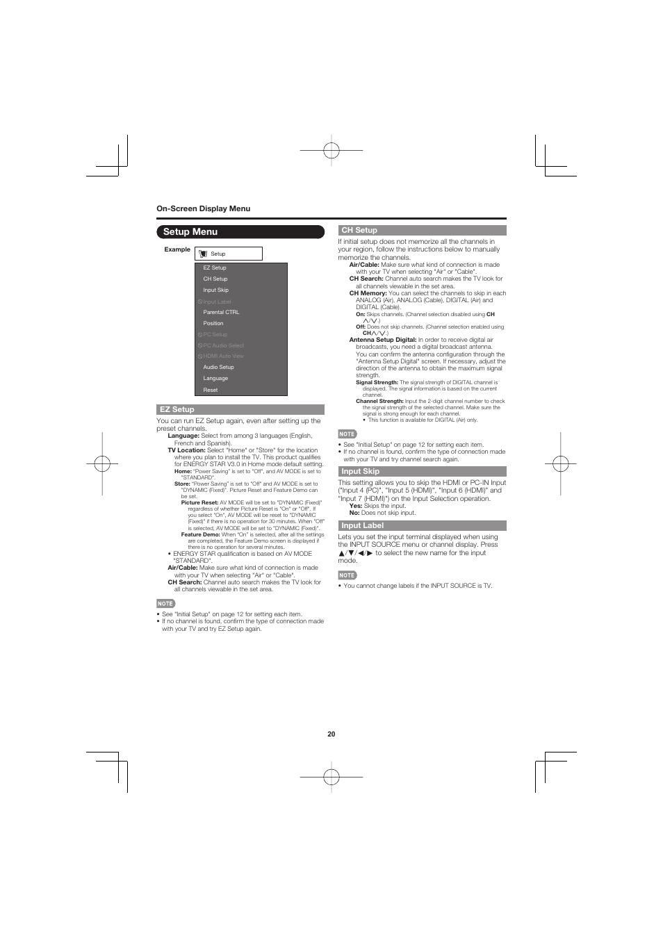 Setup menu, Ez setup, Ch setup | Sharp AQUOS LC-32D47UN User Manual
